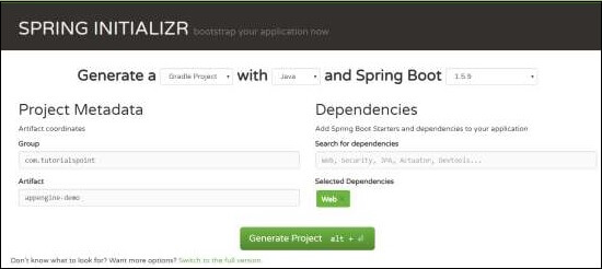 Spring Initializer Page